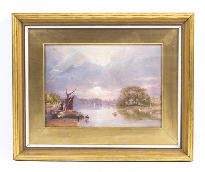 Antique Watercolour Thames at Twickenham J C Bourne c.1850 | Ref. no. 04869a | Regent Antiques
