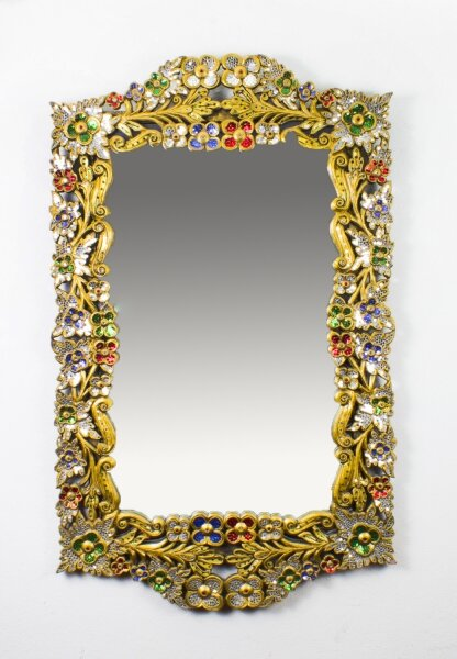 Striking Gilded Mirror Bordered with Precious Stones 112 x 70 cm | Ref. no. 04877 | Regent Antiques