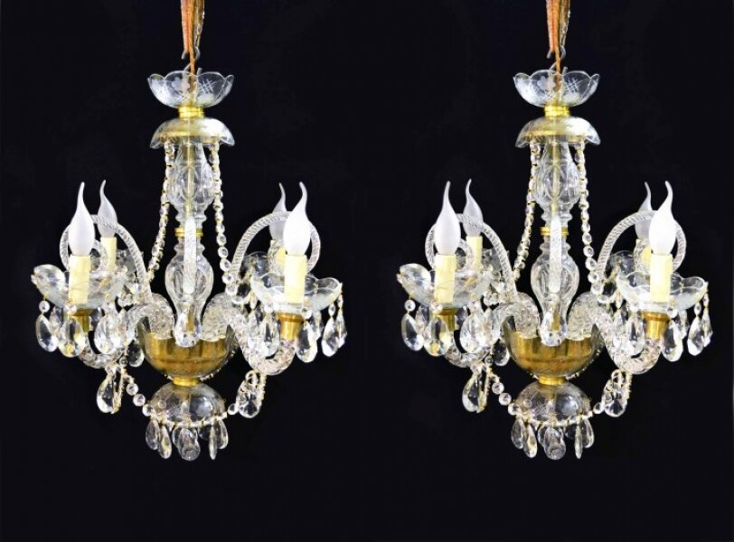 Pair of Vintage Venetian Four Light Crystal Chandeliers | Ref. no. 04881a | Regent Antiques