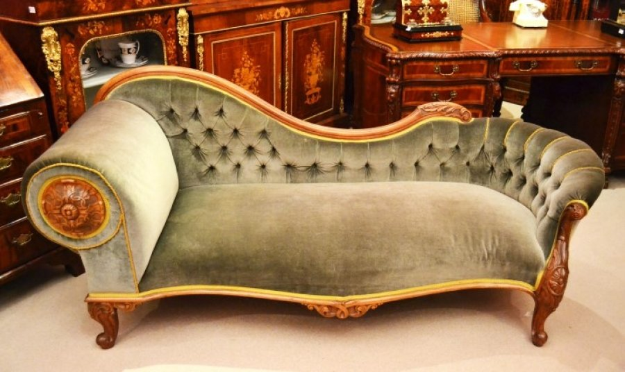 Antique victorian french walnut chaise longue ref for Antique victorian chaise longue