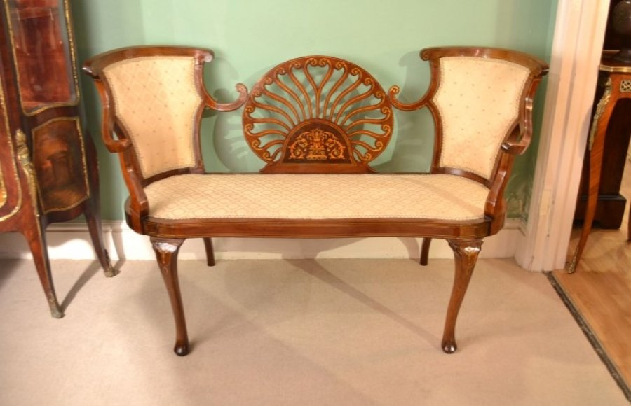 Antique victorian mahogany inlaid sofa chaise ref for Antique victorian chaise lounge