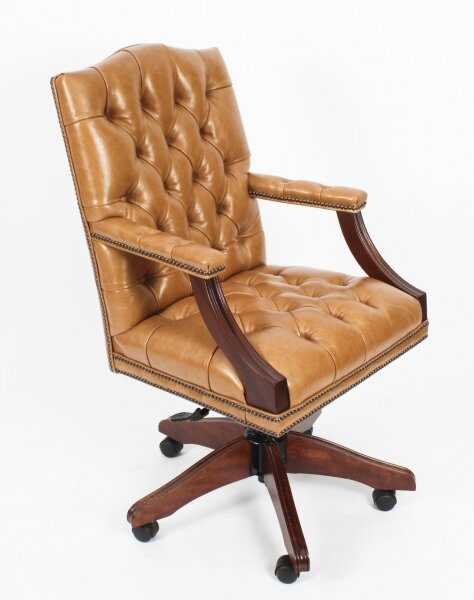 Bespoke English Handmade Gainsborough Leather Desk Chair Tan | Ref. no. 05071 | Regent Antiques
