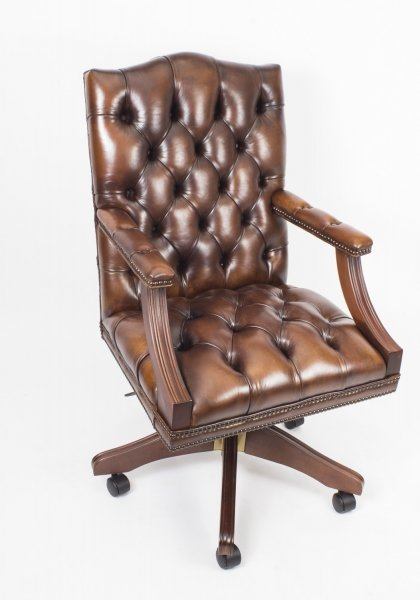 Bespoke English Handmade Gainsborough Leather Desk Chair Tan Brown | Ref. no. 05071b | Regent Antiques