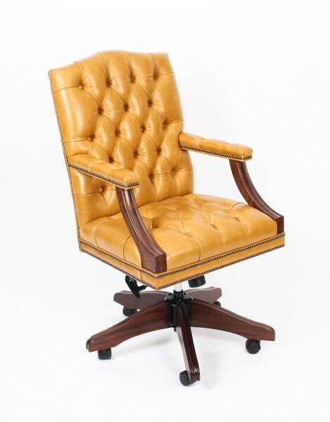 Bespoke English Handmade Gainsborough Leather Desk Swivel  Chair Buckskin | Ref. no. 05071d | Regent Antiques