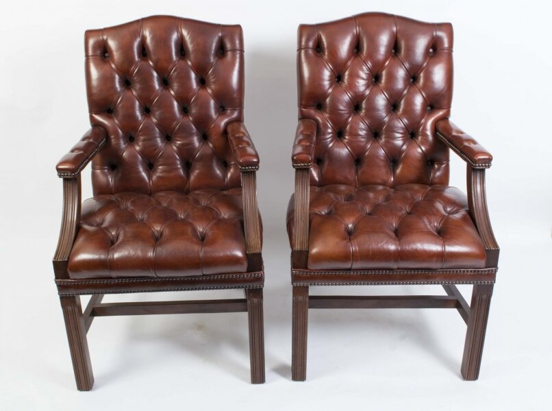 Bespoke Pair English Handmade Gainsborough Leather Desk Chairs | Ref. no. 05144a | Regent Antiques