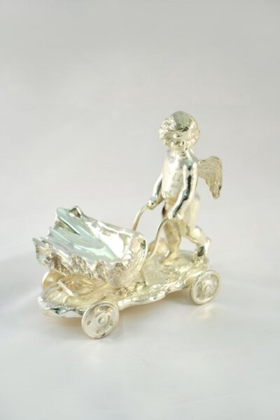 Beautiful Silver Plated Cherub on Shell Cart Salt | Ref. no. 05228 | Regent Antiques