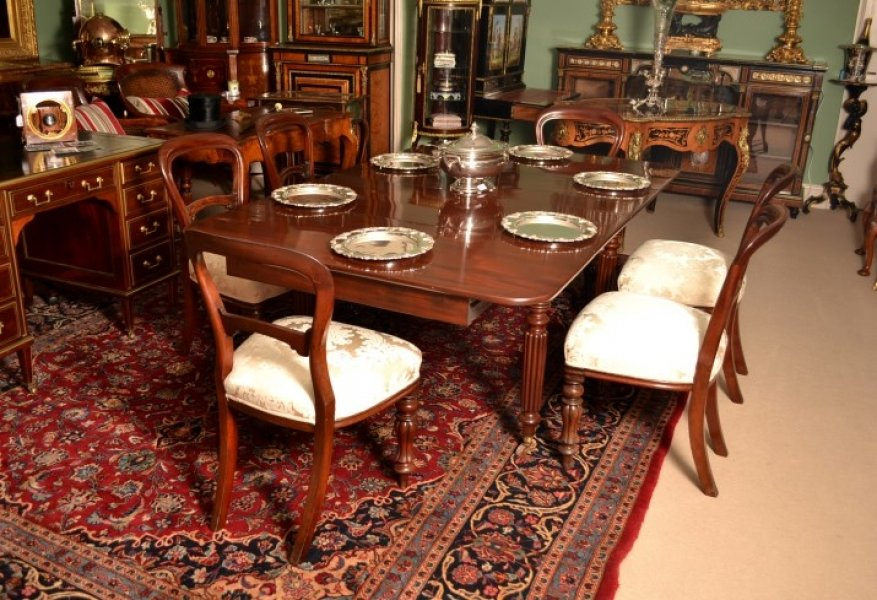 Antique Regency Dining Table 6 Antique Chairs