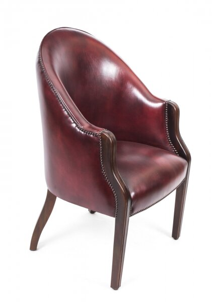 Bespoke English Handmade Leather Desk Chair Burgundy | Ref. no. 05388ox | Regent Antiques