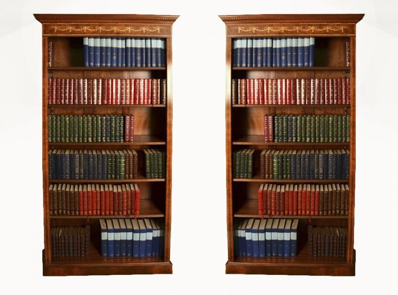 Bespoke Pair Sheraton Style Burr Burr Walnut Open Bookcases | Ref. no. 05519a | Regent Antiques