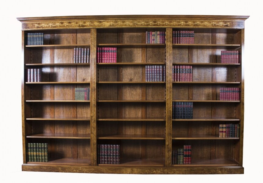 Bespoke Sheraton Revival Burr Walnut & Marquetry Open Bookcase | Ref. no. 05519b | Regent Antiques