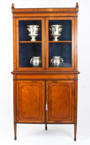 Antique English Sheraton Revival Satinwood Corner Cabinet c.1890 19th C | Ref. no. 05546a | Regent Antiques