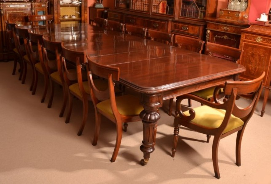 Antique 12ft victorian dining table 14 chairs for 12 ft table