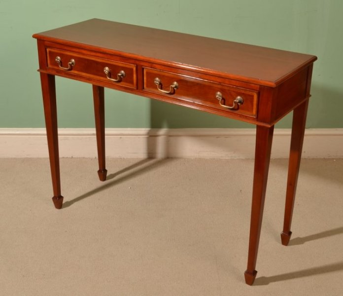 Beautiful inlaid mahogany two drawer console table for 10 inch depth console table