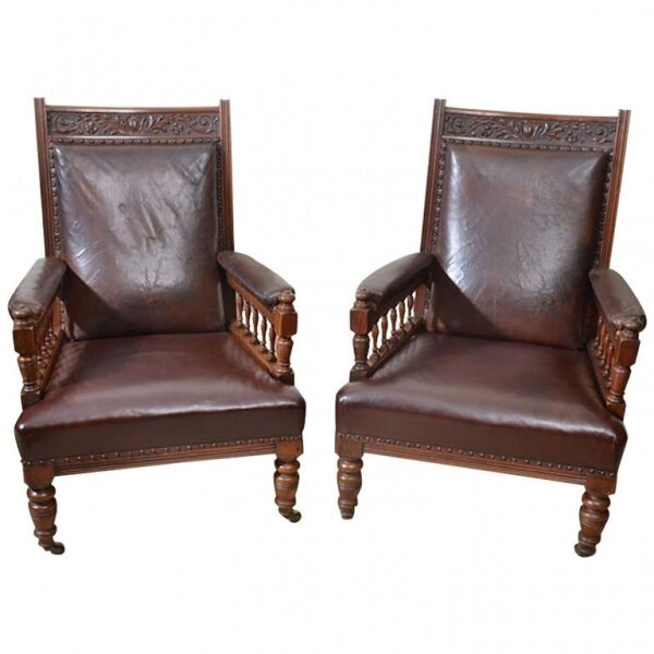 Antique Pair of English Leather Armchairs c.1880 | Ref. no. 05822 | Regent Antiques