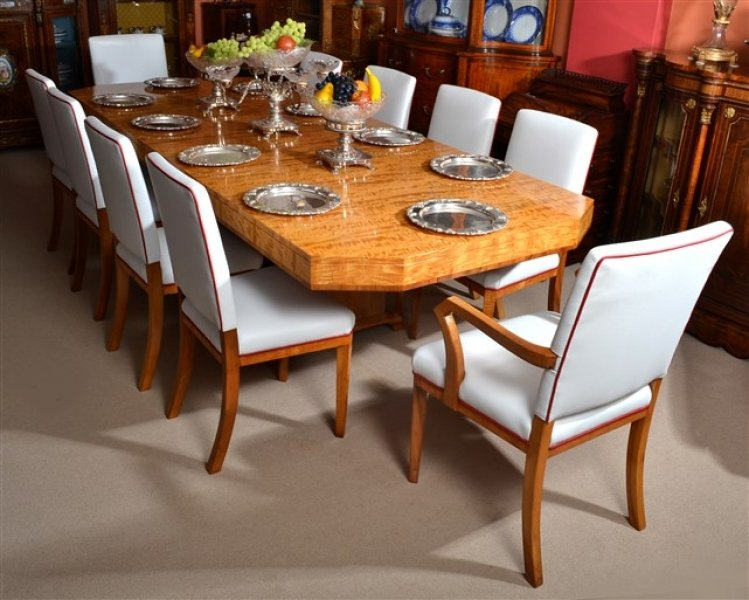 Antique Art Deco Satinwood Dining Table 10 Chairs
