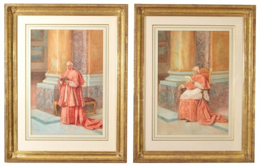 Antique Pair Watercolours \