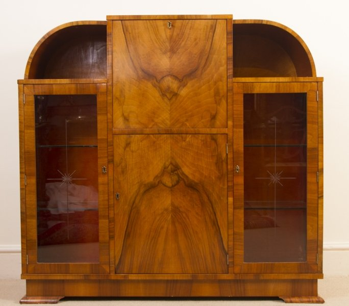 antique art deco burr walnut secretaire cabinet ref no 05987. Black Bedroom Furniture Sets. Home Design Ideas