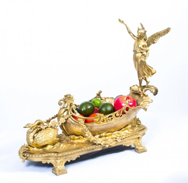 Gilded Bronze Centrepiece | Bronze Winged Lady Boat Centrepiece | Ref. no. 06086 | Regent Antiques