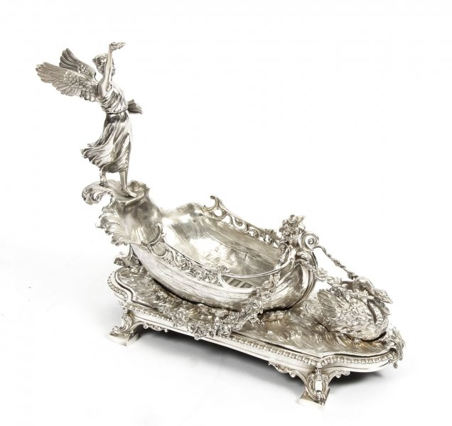 Stunning Silver Plated Winged Lady Boat Centrepiece 20th Century | Ref. no. 06086a | Regent Antiques