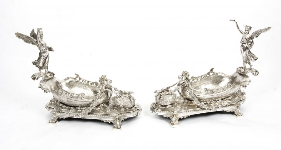 Stunning Pair of Silver Plated Winged Lady Boat Centrepieces 20th C | Ref. no. 06086b | Regent Antiques