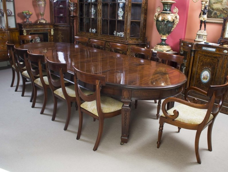 Antique 12ft 6 edwardian dining table 12 chairs c1900 for 12 foot long dining room table