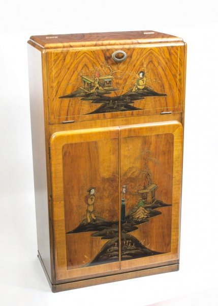 06324 Antique Art Deco Chinoiserie Cocktail Cabinetc C.