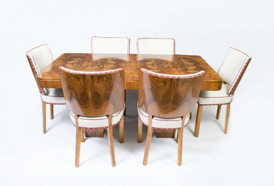Antique art deco walnut dining table 6 chairs for Examples of art deco furniture