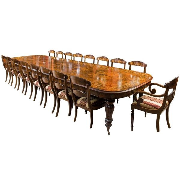 Large Dining Table & Chairs Set | Marquetry Dining Table & Chairs Set | Large Conference Table | Ref. no. 06494a | Regent Antiques