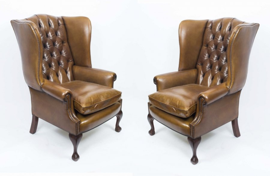 Bespoke Pair Leather Chippendale Wing Back Armchairs Saddle | Ref. no. 06566c | Regent Antiques