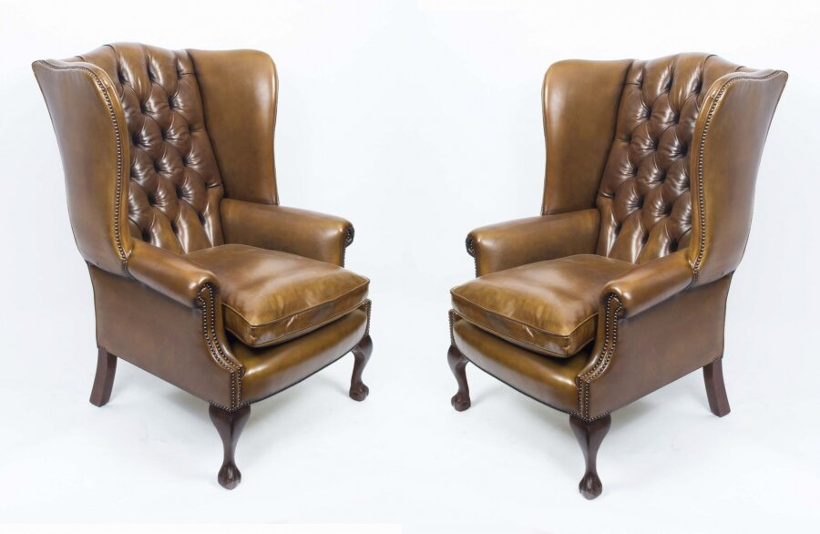 Bespoke Pair Leather Chippendale Wingback Armchairs Saddle | Ref. no. 06566c | Regent Antiques