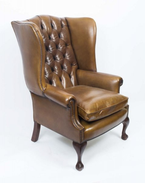 Bespoke Leather Chippendale Wing back Chair Armchair yellow tan | Ref. no. 06566d | Regent Antiques