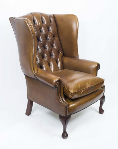 Bespoke Leather Chippendale Wingback Chair Armchair yellow tan | Ref. no. 06566d | Regent Antiques