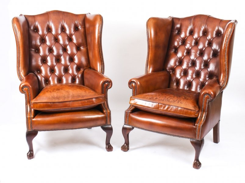 Bespoke Pair Leather Chippendale Wing Back Armchairs Chestnut | Ref. no. 06566e | Regent Antiques