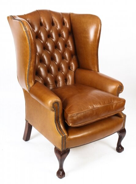 Stupendous Bespoke Leather Chippendale Wing Back Chair Armchair Bruciato Short Links Chair Design For Home Short Linksinfo