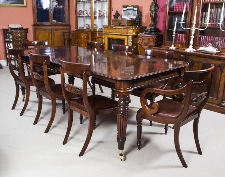 antique regency mahogany dining table 8 regency chairs