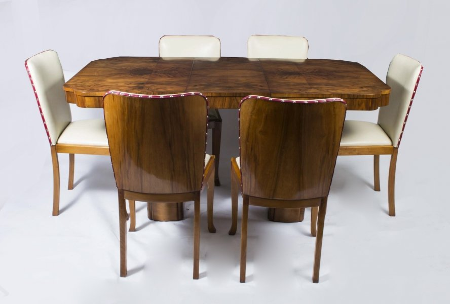 Antique Art Deco Walnut Dining Table 6 Chairs