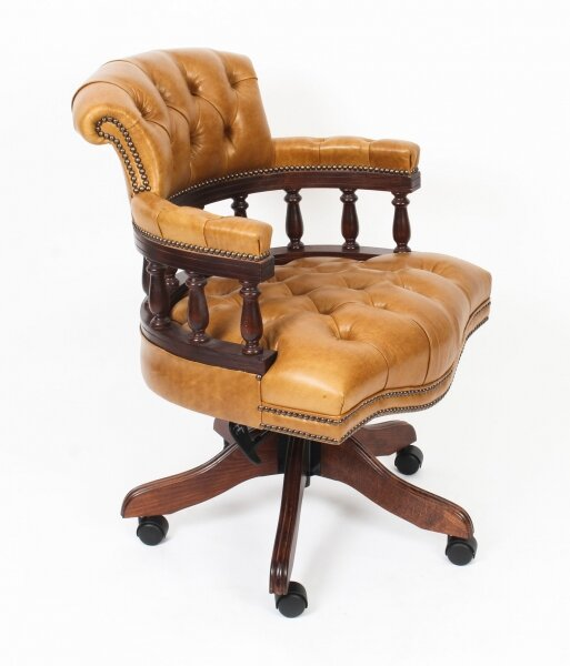 Bespoke English Hand Made Leather Captains Desk Chair Buckskin | Ref. no. 06654 | Regent Antiques