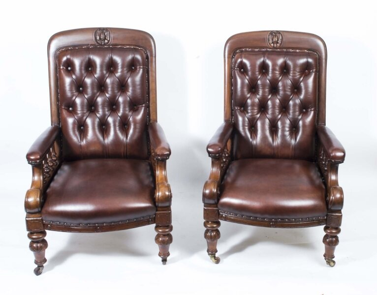 Antique Pair English Victorian Leather Armchairs c.1880 | Ref. no. 06656 | Regent Antiques