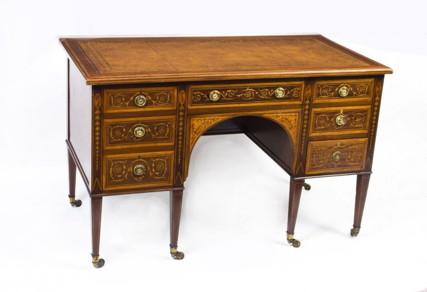 antique Sheraton Revival desk | Edwardian pedestal desk | Ref. no. 06664 | Regent Antiques
