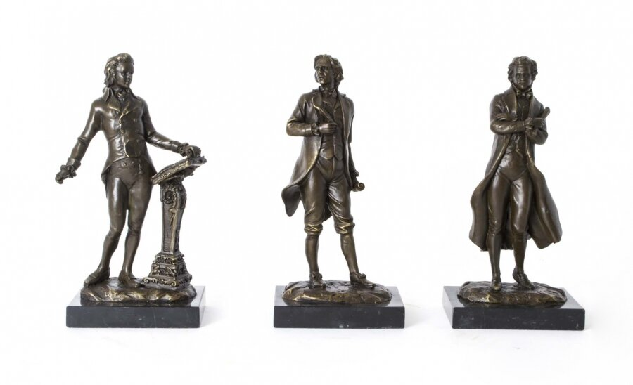 Set of Bronze Sculptures of Chopin Mozart and Beethoven | Trio of Bronze Statues | Ref. no. 06726 | Regent Antiques