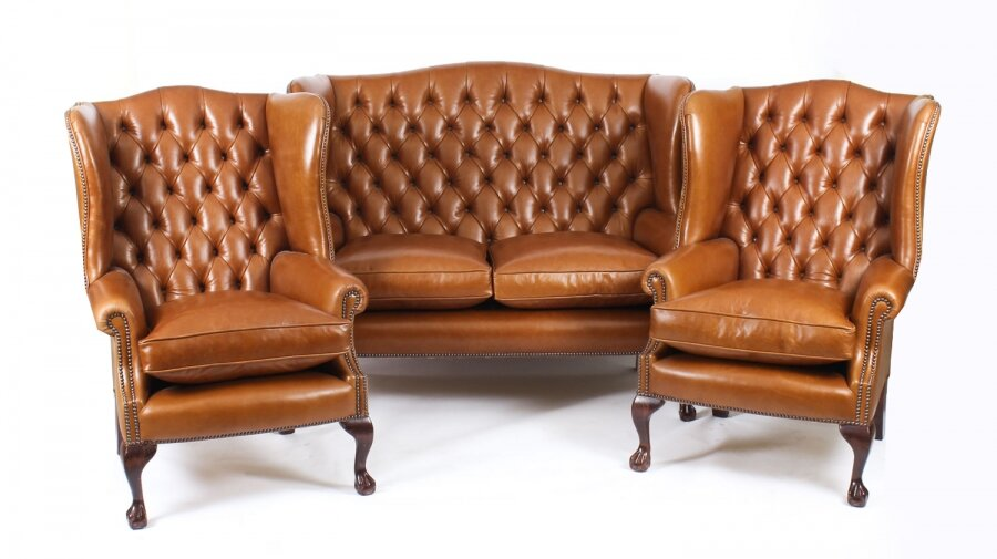 Bespoke English Hand Made 3 x Leather Suite Chippendale Bruciato | Ref. no. 06749D | Regent Antiques
