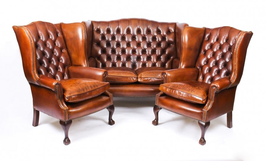 Bespoke English Hand Made 3 x Leather Suite Chippendale Burnt Amber | Ref. no. 06749ba | Regent Antiques