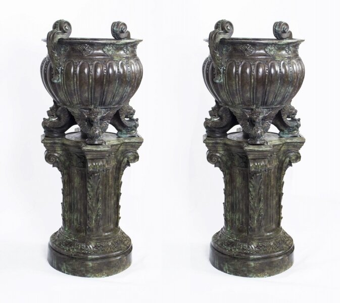 Huge Pair Solid  Bronze Classical Jardinieres on Stands | Ref. no. 06753 | Regent Antiques