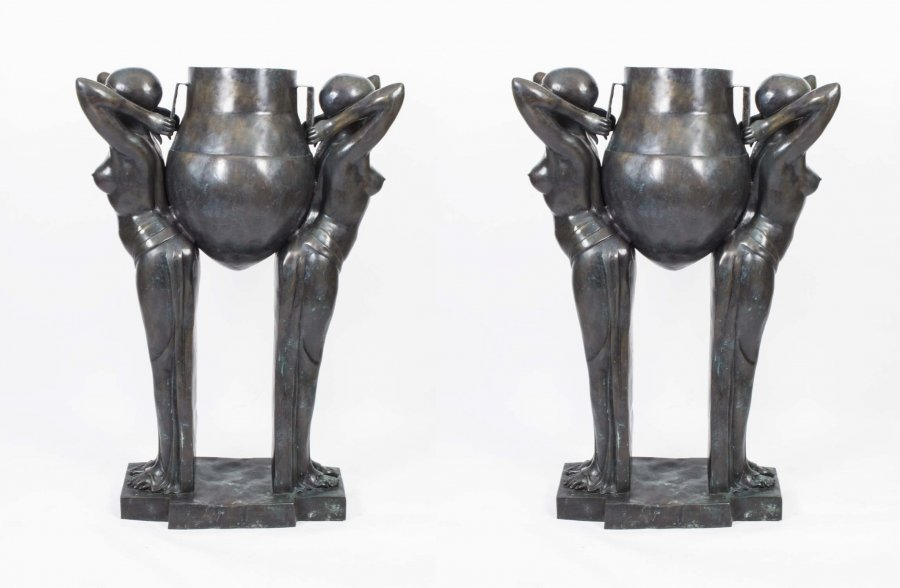 Pair Art Deco Bronze Biba Jardinieres The Water Carriers