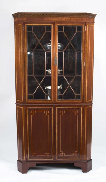 Antique Edwardian Inlaid 2 Door Corner Cabinet c.1900 | Ref. no. 06767 | Regent Antiques