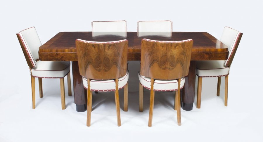 antique art deco walnut rosewood dining table 6 chairs art deco figured walnut wardrobe vintage