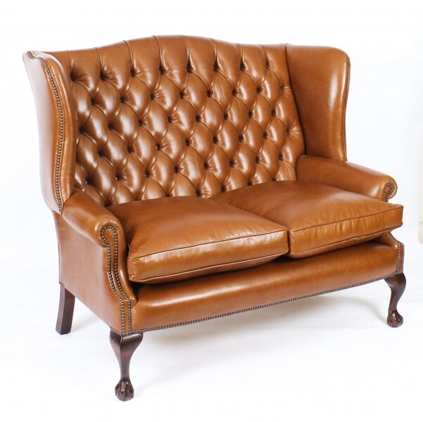 Bespoke English Leather Chippendale Club Settee Sofa Bruciato | Ref. no. 06770 | Regent Antiques