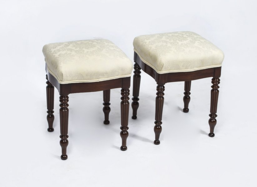 Antique Pair French Mahogany Stools c.1880 | Ref. no. 06771 | Regent Antiques