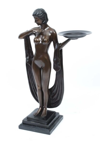 Art Deco Style Bronze Statuette of Woman With a Shawl and Platter | Ref. no. 06798 | Regent Antiques