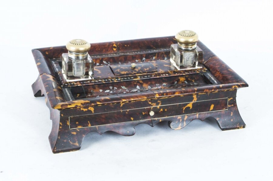 Antique Willliam IV Inlaid Mother of pearl Boulle Inkstand C1830 | Ref. no. 06805ee | Regent Antiques